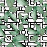 De groene Bladeren van de Esdoorn Botanisch de tuin bloemengebladerte van de bladinstallatie Naadloos patroon als achtergrond Stock Illustratie