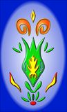 De groene bloemknop maakt brandmotief op Stock Afbeeldingen