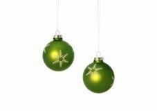 De groene Bollen van Kerstmis Royalty-vrije Stock Fotografie