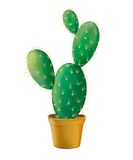 De groene cactus van de Vijgencactus in gele pot. vector illustratie