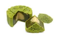 De groene Cake van de Maan van de Thee stock afbeelding