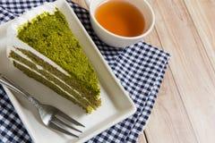 De groene Cake van de Thee Royalty-vrije Stock Foto's