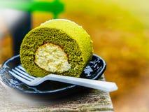 De groene cake van het theebroodje in groene theewinkel bij theemuseum, Jeju-eiland, Zuid-Korea Stock Fotografie