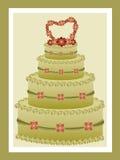 De groene cake van het theehuwelijk Royalty-vrije Stock Foto's