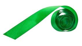De groene die band van de satijnverpakking op wit wordt geïsoleerd Stock Fotografie