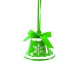 De groene die klok van het Kerstmiskenwijsje op wit Nieuwjaar wordt geïsoleerd als achtergrond Royalty-vrije Stock Foto