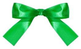 De groene die knoop van de satijnboog op wit wordt geïsoleerd Royalty-vrije Stock Foto