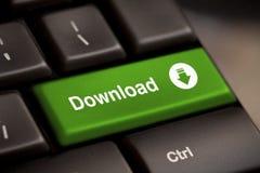 De groene download gaat knoopsleutel in Stock Foto's