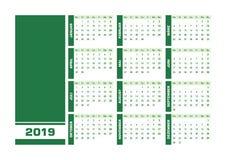 De groene Duitse kalender van 2019 royalty-vrije illustratie
