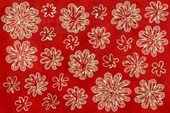 De groene en beige abstracte bloemen van de waterverfmunt op waterverf kastanjebruine rode achtergrond Royalty-vrije Stock Afbeelding