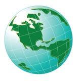 De groene en blauwe kaart van de hemelwereld Stock Foto