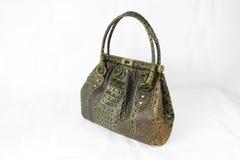 De groene en bruine gekleurde handtas van de krokodilhuid Royalty-vrije Stock Fotografie