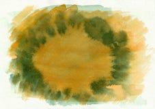 De groene en oranje horizontale getrokken achtergrond van de waterverfgradiënt hand Het middendeel is lichter dan overkanten van  Stock Foto's