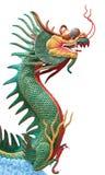De groene en rode draak isoleerde wit Royalty-vrije Stock Fotografie