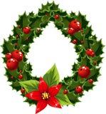 De groene en rode versiering van Kerstmis met bes Stock Afbeelding