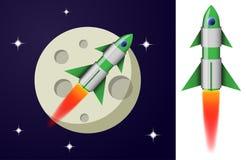 De groene en witte raket die van het beeldverhaalstaal in ruimte vliegen stock illustratie