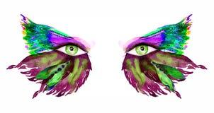 De groene feeogen met make-up, purpere, groene vleugels van vlinder vormen oogschaduw vector illustratie