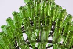 De groene Flessen van het Glas Stock Fotografie