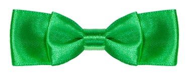 De groene geïsoleerde knoop van de satijn dubbele boog Royalty-vrije Stock Foto