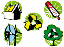 De groene geïsoleerdeo reeks van het ecosymbool Royalty-vrije Stock Fotografie
