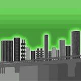 De groene Gebouwen van de Stad Stock Foto