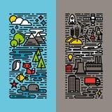 De groene, geplaatste pictogrammen van de ecologie en milieulijn Royalty-vrije Stock Foto's