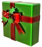 De groene gift van Kerstmis met rode lint en boog Stock Afbeeldingen