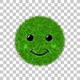 De groene glimlach van het grasgezicht Smiley grasrijk pictogram, geïsoleerde witte achtergrond Het concept van de ecologie Geluk stock illustratie