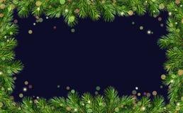 De groene grenzen van Kerstboomtakjes en vakantielichten Royalty-vrije Stock Afbeelding