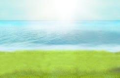 De groene het paradijsfoto van het grasstrand en 3D geeft achtergrond terug Royalty-vrije Stock Foto's