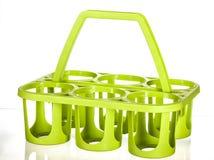 De groene houder van de zes pakfles Royalty-vrije Stock Foto