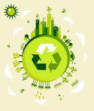De groene illustratie van de Aarde Stock Afbeeldingen