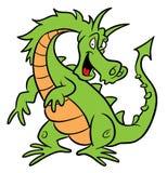De groene illustratie van het draakbeeldverhaal Royalty-vrije Stock Afbeeldingen