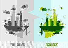 De groene illustratie van het milieuconcept Stock Fotografie