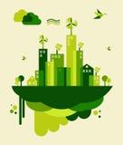 De groene illustratie van het stadsconcept Stock Afbeeldingen