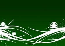 De groene illustratie van Kerstmis/van het Nieuwjaar Stock Afbeeldingen