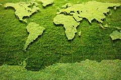 De groene kaart van de Wereld van het Gras stock afbeeldingen