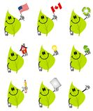 De groene Karakters van het Beeldverhaal van het Blad Royalty-vrije Stock Foto