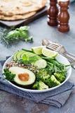 De groene kom van de veganistlunch met quinoa en avocado stock afbeelding