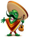 De groene Mexicaanse cactus in sombrero en poncho zingt vector illustratie