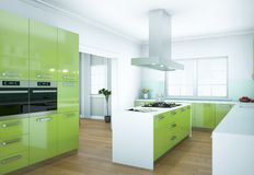 De groene moderne illustratie van het keuken binnenlandse ontwerp Royalty-vrije Stock Afbeeldingen