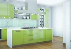 De groene moderne illustratie van het keuken binnenlandse ontwerp Royalty-vrije Stock Foto's
