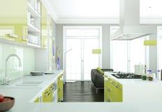 De groene moderne illustratie van het keuken binnenlandse ontwerp Royalty-vrije Stock Fotografie