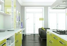 De groene moderne illustratie van het keuken binnenlandse ontwerp Stock Afbeeldingen