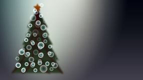 De groene mooie feestelijke Kerstboom met een onduidelijk beeldeffect met haringen en bokeh effect de ballen voor een nieuw jaar  vector illustratie