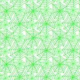 De groene naadloze achtergrond van spinnewebbenhalloween stock fotografie