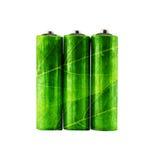 de groene navulbare alkalische batterij van aa met bladerenvorm Stock Afbeelding