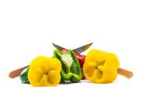 De groene paprika is ingrediënt in een gezonde voeding Royalty-vrije Stock Foto