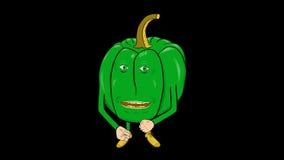 1 de groene paprika's beeldverhaal-transparant-spreekt Intro stock videobeelden