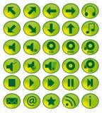 De groene Pictogrammen van het Web Stock Afbeeldingen